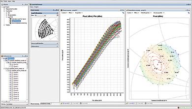 Интерфейс плагина визуализации согласования нагрузки, содержащий окна отображения размаха мощностей, контура согласования нагрузки и выбора импеданса